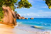 Tropical beach Source D'Argent at Seychelles - vacation background