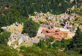 Ruins of old town in Mystras, Greece - travel background