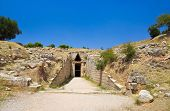 Treasury in Mycenae town, Greece - archaeology background