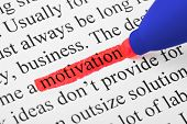 Highlighter and word motivation (my original text) - concept business background