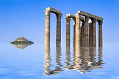 Ancient ruins and island in water - abstract architecture background