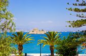 Bourtzi castle island in Nafplion, Greece - architecture background