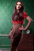 Beautiful Brunette At Green Vintage Wall