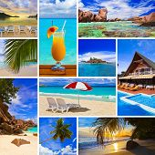 Collage of summer beach images  - nature and travel background (my photos)