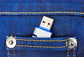 Flash memory in jeans pocket - technology background