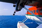 Seaplane at Maldives - transportation background