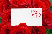 Paper card and roses bouquet - love background