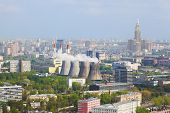 Power station in city Moscow, Russia - aerial view