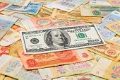 Old soviet russian money and dollar - concept business background