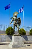 Постер, плакат: Statue of king Leonidas in Sparta Greece history background