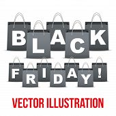 Background of Black Friday sales with letters in shopping bag