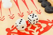 Macro of retro backgammon game and dices