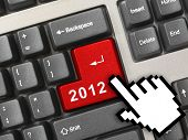 Computer keyboard with 2012 key and cursor - holiday concept