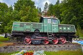 Old Vintage Green Electric Locomotive