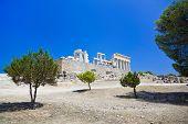 Ruins of temple on island Aegina, Greece - archaeology background