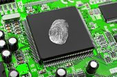 Fingerprint on computer chip - technology security concept