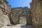 Lion Gate at Mycenae, Greece - archaeology background