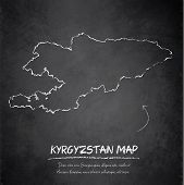 Kyrgyzstan map blackboard chalkboard vector