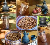 Collage With Different Images About Coffee Theme.