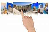 Hand scrolling Greece travel images - nature and tourism concept