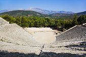 Ruins of Epidaurus amphitheater, Greece - archaeology background