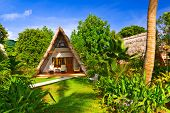 picture of chalet interior  - Bungalow in hotel at tropical beach  - JPG