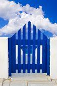 Door and cloudy sky - nature background