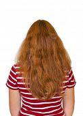 Girl with long hair isolated on white background