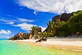 Chairs on tropical beach at Seychelles - vacation background