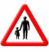 Children With Parents Crossing Traffic Sign