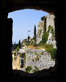 Window at old fort in Klis, Croatia - architecture background