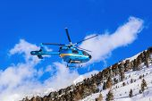 Helicopter in mountains - Obergurgl Austria - nature and transportation background