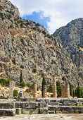 Ruins of Apollo temple in Delphi, Greece - archaeology background