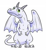 stock photo of albinos  - Cartoon albino dragon on the white background - JPG