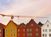 Construction crane in Bergen Norway - architecture background