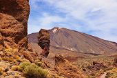 Famous Finger Of God rock at volcano Teide in Tenerife island - Canary Spain