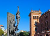 Toreador statue and bullfighting arena in Ventas Plaza - Madrid Spain