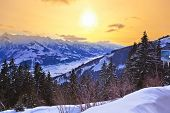 Mountains ski resort Zell am See Austria - nature and sport background
