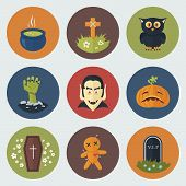 stock photo of hearse  - Funny Halloween Circle Icons Set in Flat Style - JPG