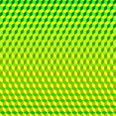 stock photo of psychodelic  - Psychodelic Abstract 3D Background Green Yellow from Cubes - JPG