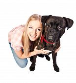 Blonde Woman With Boxer Dog