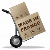 Made In France Shows Shipping Box And Cardboard
