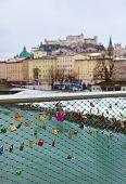 Love locks in Salzburg Austria - wedding background