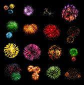 Fireworks set isolated on black background