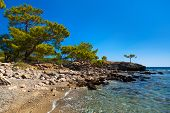 Beach at Phaselis in Antalya, Turkey - travel background