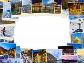 Frame made of mountains ski Austria images - nature and sport background (my photos)