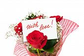 Roses bouquet and greeting card isolated on white background
