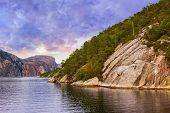 Fjord Lysefjord in Norway - nature and travel background