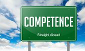 Competence on Green Highway Signpost.
