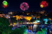 Fireworks in Antalya Turkey - holiday background